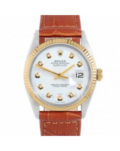 Rolex Datejust 36 1601 Yellow Gold & Steel, Custom White Diamond Dial, Fluted Bezel On Brown Alligator Leather Strap, Men's Pre-Owned Watch