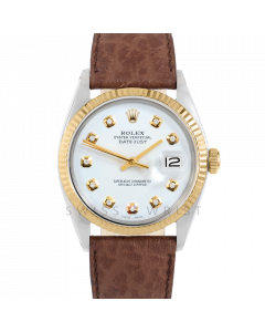 Rolex Datejust 36 1601 Yellow Gold & Steel, Custom White Diamond Dial, Fluted Bezel On Brown Buffalo Leather Strap, Men's Pre-Owned Watch