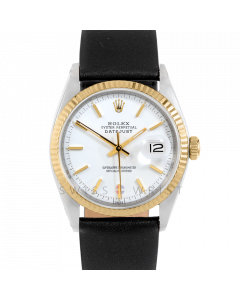 Rolex Datejust 36 1601 Yellow Gold & Steel, White Stick Dial, Fluted Bezel On Black Leather Strap, Men's Pre-Owned Watch