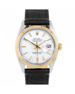 Rolex Datejust 36 1601 Yellow Gold & Steel, White Stick Dial, Fluted Bezel On Black Alligator Leather Strap, Men's Pre-Owned Watch