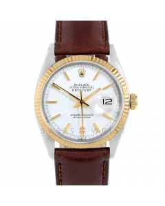 Rolex Datejust 36 1601 Yellow Gold & Steel, White Stick Dial, Fluted Bezel On Brown Leather Strap, Men's Pre-Owned Watch