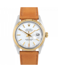Rolex Datejust 36 1601 Yellow Gold & Steel, White Stick Dial, Fluted Bezel On Tan Leather Strap, Men's Pre-Owned Watch