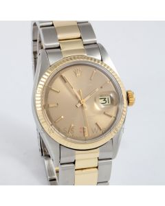 Rolex Datejust 36mm 1601 Yellow Gold & Stainless Steel w/ Bronze Stick Dial & Fluted Bezel with Oyster Bracelet - Men's Pre-Owned Watch