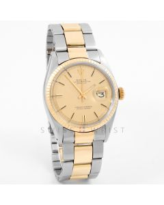 Rolex 1601 Mens Datejust 36mm Yellow Gold & Stainless Steel w/ Champagne Stick Dial and Fluted Bezel with Oyster Bracelet - Pre-Owned