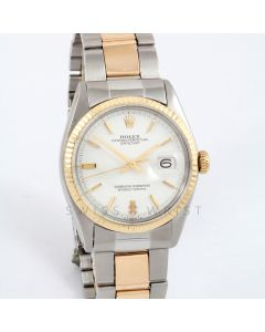 Rolex Datejust 36mm 1601 Yellow Gold & Stainless Steel w/ White 'Doorstop' Stick Dial and Fluted Bezel with Oyster Bracelet - Men's Pre-Owned Watch