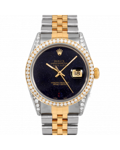 Rolex Datejust Custom Blue Aventurine Dial 36mm Yellow Gold & Stainless Steel - Diamond Bezel, Diamond Lugs On A Jubilee Band - Pre-Owned