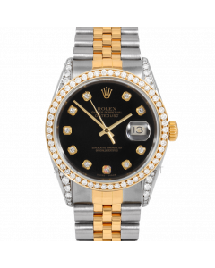 Rolex Datejust 36 16013 Yellow Gold & Steel, Custom Black Diamond Dial, 1ct Diamond Bezel & Diamond Lugs On Jubilee Bracelet, Men's Pre-Owned Watch