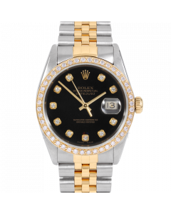 Rolex Datejust 36 16013 Yellow Gold & Steel, Custom Black Diamond Dial, 1ct Diamond Bezel On Jubilee Bracelet, Men's Pre-Owned Watch