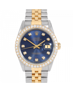 Rolex Datejust 36 16013 Yellow Gold & Steel, Custom Blue Diamond Dial, 2.5ct Diamond Bezel On Jubilee Bracelet, Men's Pre-Owned Watch
