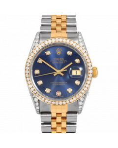 Rolex Datejust 36 16013 Yellow Gold & Steel, Custom Blue Diamond Dial, 1ct Diamond Bezel & Diamond Lugs On Jubilee Bracelet, Men's Pre-Owned Watch