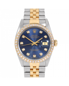 Rolex Mens Datejust Blue Diamond Dial  Jubilee Band 36mm