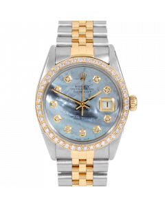 Rolex Datejust 36 16013 Yellow Gold & Steel, Custom Blue MOP Diamond Dial, 1ct Diamond Bezel On Jubilee Bracelet, Men's Pre-Owned Watch