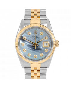 Rolex Datejust 36 16013 Yellow Gold & Steel, Custom Blue MOP Diamond Dial, Fluted Bezel On Jubilee Bracelet, Men's Pre-Owned Watch