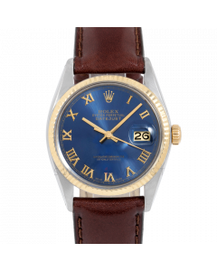 Rolex Datejust 36 16013 Yellow Gold & Steel, Blue Roman Dial, Fluted Bezel On Brown Leather Strap, Men's Pre-Owned Watch