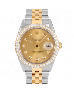 Rolex Datejust 36 16013 Yellow Gold & Steel, Custom Champagne Diamond Dial, 2.5ct Diamond Bezel On Jubilee Bracelet, Men's Pre-Owned Watch