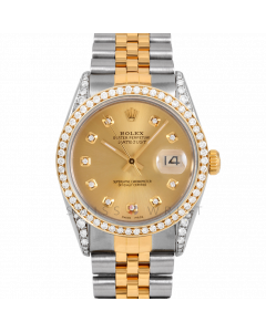 Rolex Datejust 36 16013 Yellow Gold & Steel, Custom Champagne Diamond Dial, 1ct Diamond Bezel & Diamond Lugs On Jubilee Bracelet, Men's Pre-Owned Watch