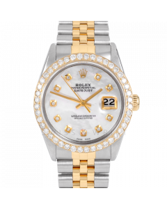 Rolex Datejust 36 16013 Yellow Gold & Steel, Custom MOP Diamond Dial, 2.5ct Diamond Bezel On Jubilee Bracelet, Men's Pre-Owned Watch
