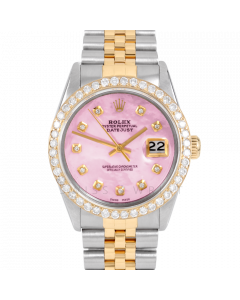 Rolex Datejust 36 16013 Yellow Gold & Steel, Custom Pink MOP Diamond Dial, 2.5ct Diamond Bezel On Jubilee Bracelet, Men's Pre-Owned Watch