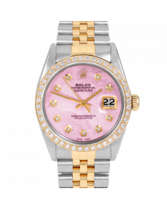 Rolex Datejust 36 16013 Yellow Gold & Steel, Custom Pink MOP Diamond Dial, 1ct Diamond Bezel On Jubilee Bracelet, Men's Pre-Owned Watch