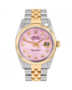 Rolex Datejust 36 16013 Yellow Gold & Steel, Custom Pink MOP Diamond Dial, Fluted Bezel On Jubilee Bracelet, Men's Pre-Owned Watch