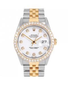 Rolex Datejust 36 16013 Yellow Gold & Steel, Custom White Diamond Dial, 2.5ct Diamond Bezel On Jubilee Bracelet, Men's Pre-Owned Watch