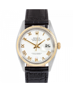Rolex Datejust 36 16013 Yellow Gold & Steel, White Roman Dial, Fluted Bezel On Black Alligator Leather Strap, Men's Pre-Owned Watch