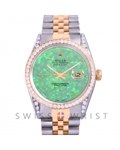 Rolex Datejust Custom Green Opal Dial 36mm Yellow Gold & Stainless Steel - Diamond Bezel, Diamond Lugs On A Jubilee Band - Pre-Owned