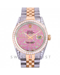 Rolex Datejust Custom Pink Opal Dial 36mm Yellow Gold & Stainless Steel - Diamond Bezel, Diamond Lugs On A Jubilee Band - Pre-Owned