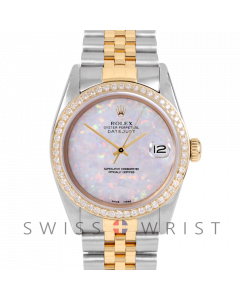 Rolex Datejust Custom White Opal Dial 36mm Yellow Gold & Stainless Steel - Diamond Bezel, Diamond Lugs On A Jubilee Band - Pre-Owned