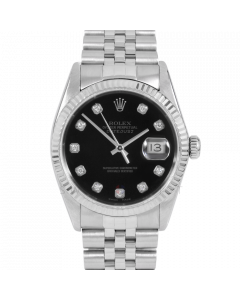 Rolex Datejust 36 16014 White Gold & Steel, Custom Black Diamond Dial, Fluted Bezel On Jubilee Bracelet, Men's Pre-Owned Watch