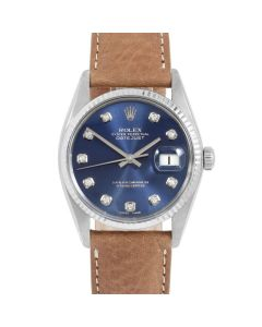 Rolex Datejust 36 16014 White Gold & Steel, Custom Blue Diamond Dial, Fluted Bezel On Tan Leather Strap, Men's Pre-Owned Watch