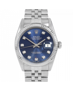 Rolex Datejust 36 16014 White Gold & Steel, Custom Blue Diamond Dial, Fluted Bezel On Jubilee Bracelet, Men's Pre-Owned Watch