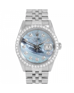Rolex Datejust 36 16030 Stainless Steel, Custom Blue MOP Diamond Dial, 2.5ct Diamond Bezel On Jubilee Bracelet, Men's Pre-Owned Watch