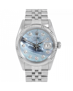 Rolex Datejust 36 16014 White Gold & Steel, Custom Blue MOP Diamond Dial, Fluted Bezel On Jubilee Bracelet, Men's Pre-Owned Watch