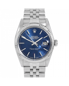 Rolex Datejust 36 16014 White Gold & Steel, Blue Stick Dial, Fluted Bezel On Jubilee Bracelet, Men's Pre-Owned Watch