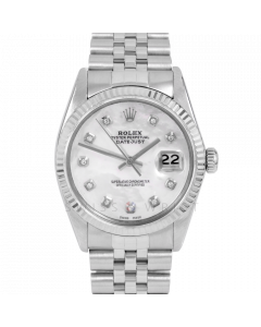 Rolex Datejust 36 16014 White Gold & Steel, Custom MOP Diamond Dial, Fluted Bezel On Jubilee Bracelet, Men's Pre-Owned Watch