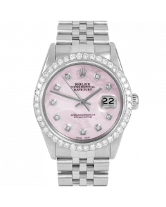 Rolex Datejust 36 16030 Stainless Steel, Custom Pink MOP Diamond Dial, 2.5ct Diamond Bezel On Jubilee Bracelet, Men's Pre-Owned Watch
