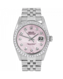 Rolex Datejust 36 16030 Stainless Steel, Custom Pink MOP Diamond Dial, 1ct Diamond Bezel On Jubilee Bracelet, Men's Pre-Owned Watch