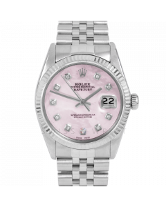 Rolex Datejust 36 16014 White Gold & Steel, Custom Pink MOP Diamond Dial, Fluted Bezel On Jubilee Bracelet, Men's Pre-Owned Watch