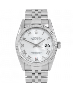 Rolex Datejust 36 16014 White Gold & Steel, Silver Roman Dial, Fluted Bezel On Jubilee Bracelet, Men's Pre-Owned Watch