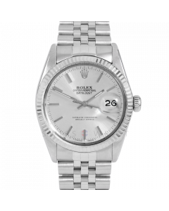 Rolex Datejust 36 16014 White Gold & Steel, Silver Stick Dial, Fluted Bezel On Jubilee Bracelet, Men's Pre-Owned Watch