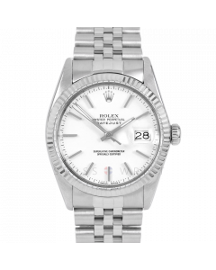 Rolex Datejust 36 16014 White Gold & Steel, White Stick Dial, Fluted Bezel On Jubilee Bracelet, Men's Pre-Owned Watch