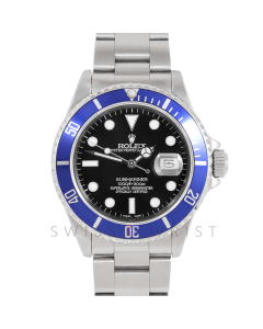 Rolex Submariner Date 16610 Stainless Steel, Custom Black Dial, Custom Blue Directional Bezel on Oyster Bracelet, Men's Pre-Owned Watch 90's Model