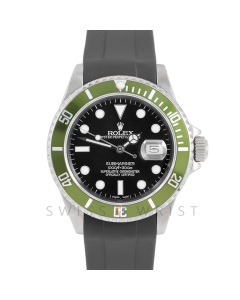 Rolex Submariner Date 16610 Stainless Steel, Custom Black Dial, Custom Green Directional Bezel On Rubber Strap, Men's Pre-Owned Watch 90's Model