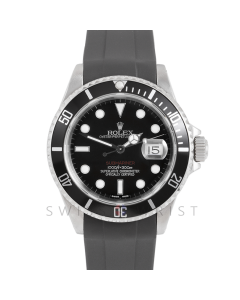Rolex Submariner Date 16610 Stainless Steel, Custom Black Dial & Red Accent, Custom Black Directional Bezel On Rubber Strap, Men's Pre-Owned Watch 90's Model