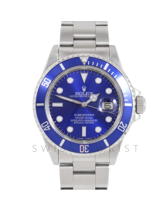Rolex Submariner Date 16610 40mm Stainless Steel, Custom Blue Dial & Custom Blue Directional Bezel on Oyster Bracelet - w/ Rolex Box & Papers