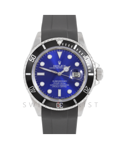 Rolex Submariner Date 16610 Stainless Steel, Custom Blue Dial, Custom Black Directional Bezel On Rubber Strap, Men's Pre-Owned Watch 90's Model