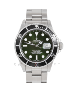 Rolex Submariner Date 16610 Stainless Steel, Custom Green Dial, Custom Black Directional Bezel on Oyster Bracelet, Men's Pre-Owned Watch 90's Model