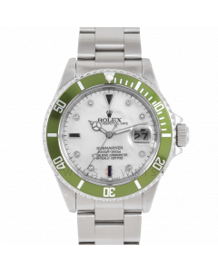 Rolex Submariner Date 16610 Stainless Steel, Custom MOP Diamond Serti Dial, Custom Green Directional  Bezel On Oyster Bracelet, Men's Pre-Owned Watch 90's Model