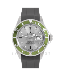 Rolex Submariner Date 16610 Stainless Steel, Custom Silver Diamond Serti Dial, Custom Green Directional Bezel On Rubber Strap, Men's Pre-Owned Watch 90's Model